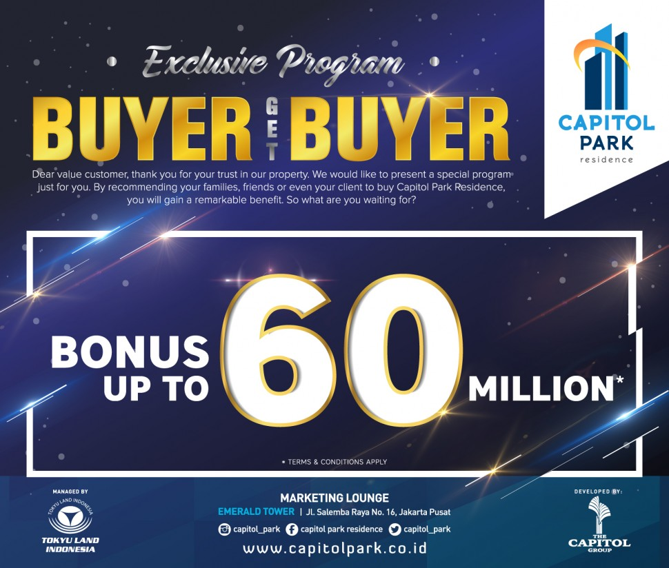 Capitol park residence salemba jakarta pusat - Buyer get Buyer - May 2019