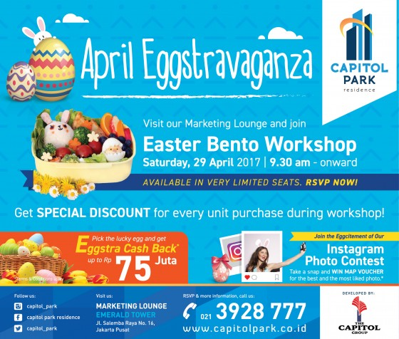 Capitol park residence salemba jakarta pusat news - April Eggstravanga - Easter Bento Workshop
