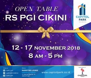 Capitol park residence terjangkau siap huni - Open Table Nov 2018