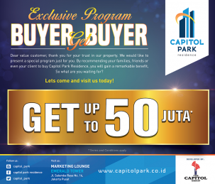 Capitol park residence terjangkau siap huni - Exclusive Program - Buyer Get Buyer January