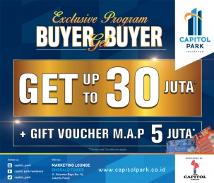 Capitol park residence terjangkau siap huni - Exclusive Program - Buyer Get Buyer